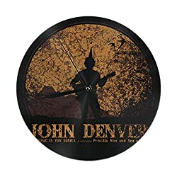 PZY L KING John Denver Black Wall Clock, Silent Non Ticking - 10 Inch Round Easy to Read Home/Office/School Clock