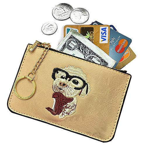 AnnabelZ Women's Coin Purse Change Wallet Embroidery Pouch Leather Card Holder with Key Chain Zip (Z-Yellow Embroidery)