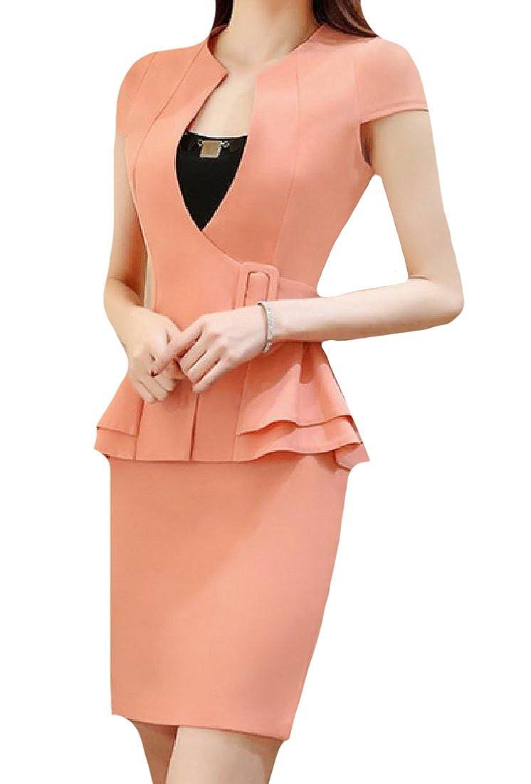 Whitive Womens Peplum Half Sleeve Office Wear Sport Coat 2-Piece