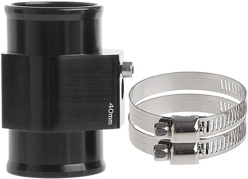 Black Aluminum Water Temp Meter Temperature Gauge Joint Pipe Radiator Sensor Adaptor Attachment Hose Clamps 40mm