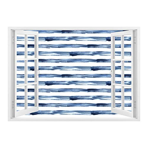 Window Frame Mural/Harbour Stripe,Watercolor Style Paintbrush Stripes Sea Marine Life Symbol Lines Image,Night Blue White/Wall Sticker Mural ()