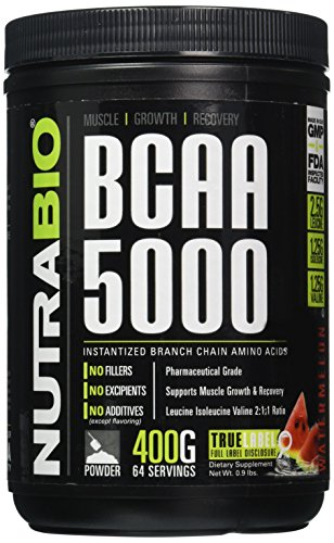 NutraBio BCAA 5000 Powder - 400 Grams - WATERMELON - 100% Pure Branched Chain Amino Acids - HPLC Tested.