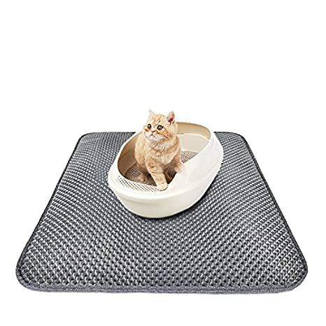 Cat Litter Mat Litter Trapper Box Mat with Urine/Waterproof Layer and Honeycomb Double-Layer Design, Soft, Floor/Carpet Protection and Easy Clean, Large (55 X 70) Large (55 X 70) Cideros