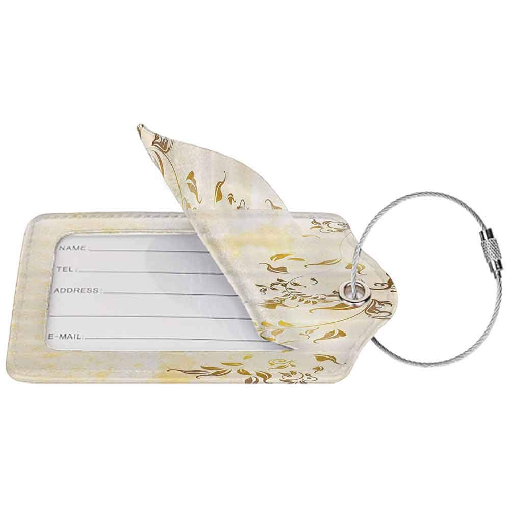 Durable luggage tag Beige Decor Antique Classic Backdrop with Curving Branch Nostalgic Vintage Silhouettes Artwork Unisex Gold and Beige W2.7 x L4.6