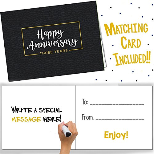 Third Wedding Anniversary Gifts- Three Year Booklet with Matching Card for Leather Anniversary. Third Anniversary Memory Journal - Unique 3 Year Wedding Gift for Husband or Wife!