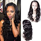 Maxine Body Wave Human Hair Wigs 130% Density Natural Hairline Brazilian Virgin Remy Human Hair Lace Front Wig With Baby Hair Bleached Knots Adjustable Straps 16 inches
