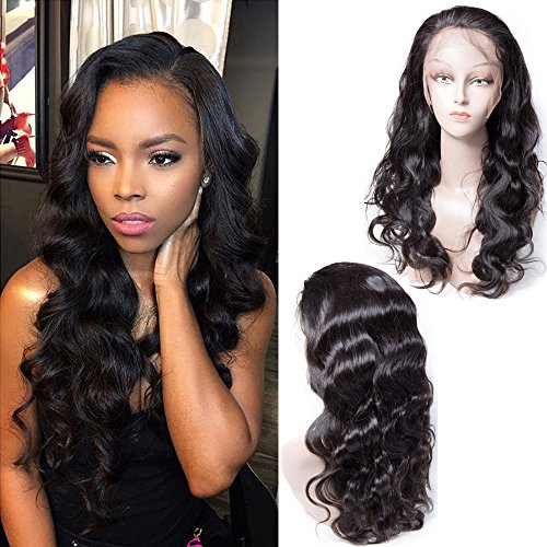 Maxine Body Wave Human Hair Wigs 130% Density Natural Hairline Brazilian Virgin Remy Human Hair Lace Front Wig With Baby Hair Bleached Knots Adjustable Straps 16 inches by Maxine