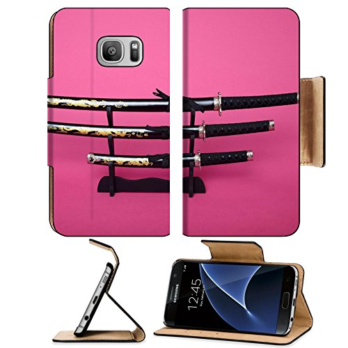Liili Premium Samsung Galaxy S7 Flip Pu Leather Wallet Case Samurai swords and hilt isolated over pink IMAGE ID 34560206 (Leather Sword Gladiator)