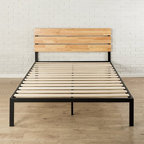 Zinus Paul Metal and Wood Platform Bed with Wood Slat Support, King