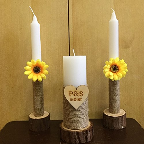 Personalized Unity Wedding Candle, Custom Wedding Candles with Wood Candle Holders, Rustic Wedding Candles, Unity Candle Holder Shabby Chic Wedding Decor Sunflower ()