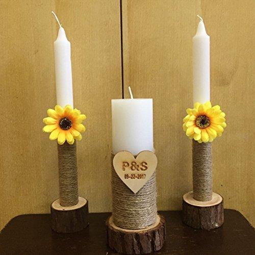 Custom Unity Candle - Personalized Unity Wedding Candle, Custom Wedding Candles with Wood Candle Holders, Rustic Wedding Candles, Unity Candle Holder Shabby Chic Wedding Decor Sunflower Decor
