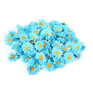 Zerodis Flower Heads Artificial Daisy Flower Heads 11 Colors Fabric Flower Head for Wedding Party DIY Home Decoration, Pack of 100(Light Blue) 77