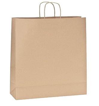 Yearol K08 Bolsas de papel kraft grandes marron con asas. 35 * 14 * 36 Para regalo, bodas, cumpleaños, tiendas, compra, venta, eventos. Base plana ...
