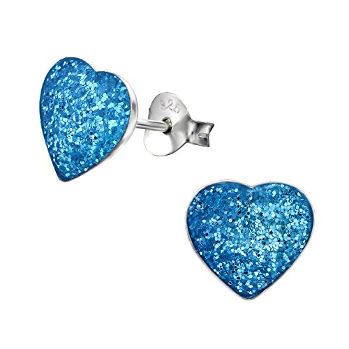 Blue Heart Glitter (Hypoallergenic Heart Stud Earrings for Girls (Nickel Free and Safe for Sensitive Ears) - Dark Blue Glitter)