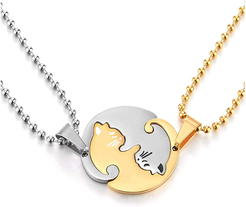 COOLSTEELANDBEYOND Pair Steel Matching Kitty Cat Friendship Pendant Necklace, Lovers Couples Friends