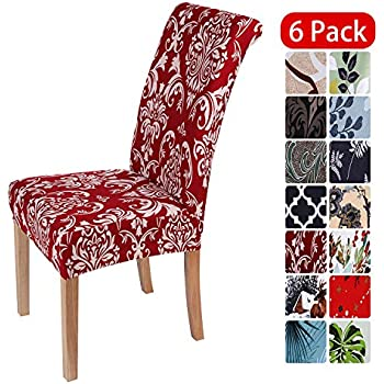 smiry Stretch Printed Dining Chair Covers, Spandex Removable Washable Dining Chair Protector Slipcovers for Home, Kitchen, Party, Restaurant - Set of 6, Red