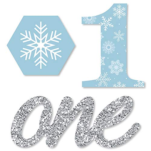 Big Dot of Happiness Onederland - Shaped Holiday Snowflake Winter Wonderland Birthday Party Cut-Outs - 24 Count -