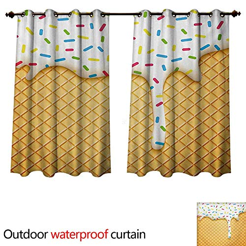 (WilliamsDecor Food Outdoor Ultraviolet Protective Curtains Cartoon Like Image of and Melting Ice Cream Cones Colored Sprinkles Artistic Print W108 x L72(274cm x 183cm))
