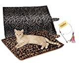 1 Beige Thermal Cat Mat + 1 Free Cat Toy - Cozy Self Heating Warming Kitty Bed - Reversible Washable Pad - No Electricity