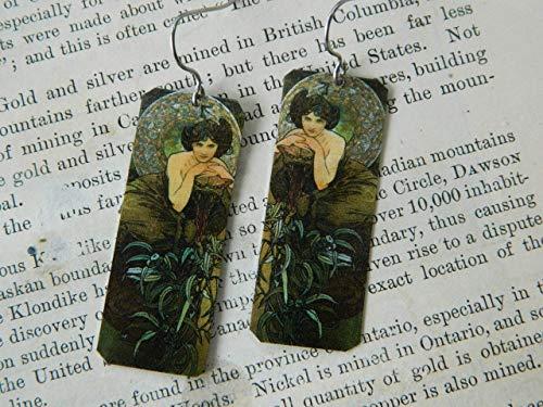 Art Earrings Alphonse Mucha Emerald