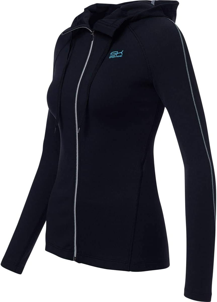Sportkind fitness jogging con cappuccio Giacca sportiva da tennis da ragazza e donna