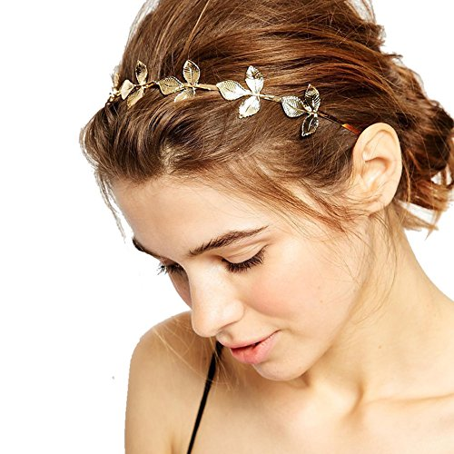 DRESHOW Leaf Golden Metal Headband Bride-bridal Metal Wedding Headband Hair - Heads Metal