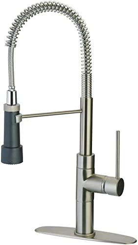 LaToscana 78PW557PM Elba Single Handle Kitchen Faucet with Spring Spout, Brushed Nickel Finish