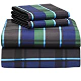 Extra Long Egg Crate Mattress Pad Campus Linens Hampton Navy Plaid 4 Piece Full XL Sheet Set for College Dorm Bedding