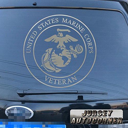 3S MOTORLINE USMC Veteran Decal Sticker Retired United States Marine Corps Car Vinyl pick size color die cut a (silver, 8'' (20.3cm))