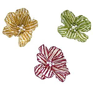 Katherine's Collection Yellow Green Pink Gumdrop Magnolia Flower Clips Set of Three 64