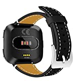 For Fitbit Versa Band Leather AISPORTS Fitbit Versa Watch Band Soft Leather Smart Watch Replacement Band Stainless Steel Bracelet Buckle Wristband Band for Fitbit Versa Fitness Accessories - Black