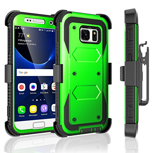 Galaxy S7 Case, Tekcoo [TShell Series] [Green] Shock Absorbing [Built-in Screen Protector] Holster Locking Belt Clip Defender Heavy Case Cover for Samsung Galaxy S7 S VII G930 GS7 All Carriers