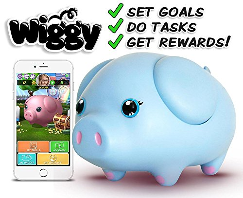 Wiggy Piggy Bank (Sky Blue): Smart Speaking Piggy Bank and Task Tracker