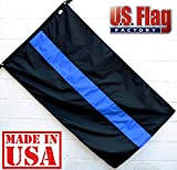 Cheap US Flag Factory 3'x5′ Thin Blue Line Flag (Sewn Stripes) for Police Officers – Blue Lives Matter Flag – Outdoor SolarMax Nylon Flag – 100% Made in America