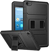 MoKo Case for All-New Amazon Fire HD 8 Tablet (7th Generation, 2017 Release Only) - [Heavy Duty] Shockproof Full Body Rugged Cover with Built-in Screen Protector for Fire HD 8, BLACK