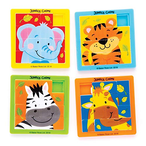 Baker Ross Jungle Chums Buddies Sliding Puzzles (Pack of 4) Slide Puzzle for Kids Party Bag Fillers and Gift Ideas