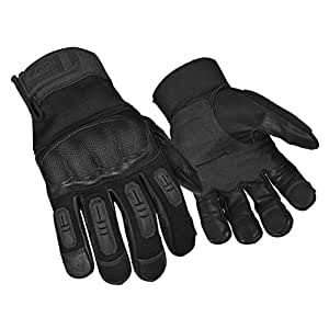 Ringers Gloves R-557 Tactical Hard Knuckle, Carbon Fiber Knuckle, Flame Resistant, Black, Large