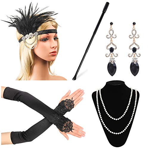 Beelittle 1920s Accessories Headband Earrings Necklace Gloves Expandable Cigarette Holder -