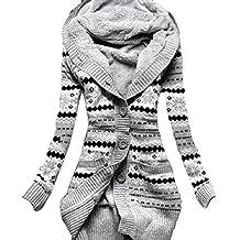 EkarLam® Women's Vintage Pope Floral Fleece Hoody Knitted Cardigan Sweater
