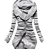 EkarLam Women's Vintage Pope Floral Fleece Hoody Knitted Cardigan Sweater Grey US M(Tag XL)