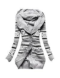 EkarLam Women's Vintage Pope Floral Fleece Hoody Knitted Cardigan Sweater