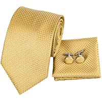 Hi-Tie Men Classic Multi-Color Solid Tie Necktie with Cufflinks and Pocket Square Tie Set