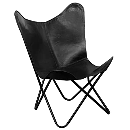 Festnight Vintage Butterfly Chair Real Leather Black