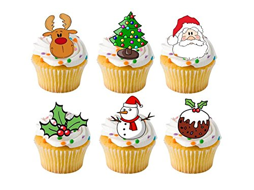 24 x Christmas Xmas Festive Mixed STAND UP STANDUPS Fairy Muffin Cup Cake Toppers Decoration Edible Rice Wafer Paper Harold's Bakeware