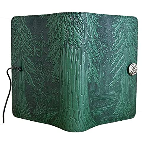 Genuine Leather Refillable Large Notebook Cover for 5.25 x 8.25 Inch Notebooks | Tooled Forest Design, Green with Pewter Button | Made in the USA by Oberon - Oberon Journal