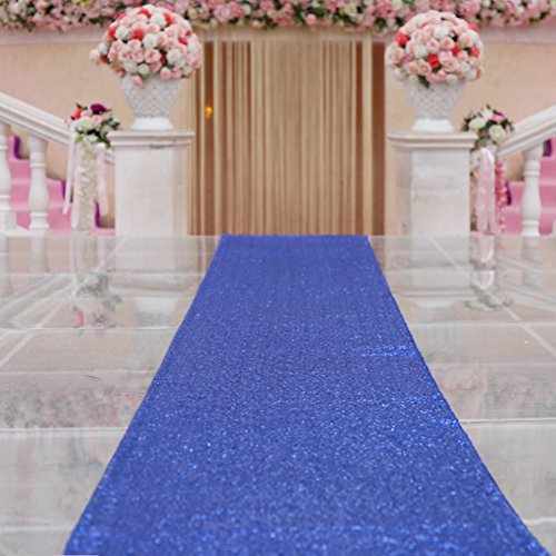 TRLYC Royal Blue Marriage Ceremony Runner Wedding Sequin Aisle Runner-48Inch by 15FT by TRLYC