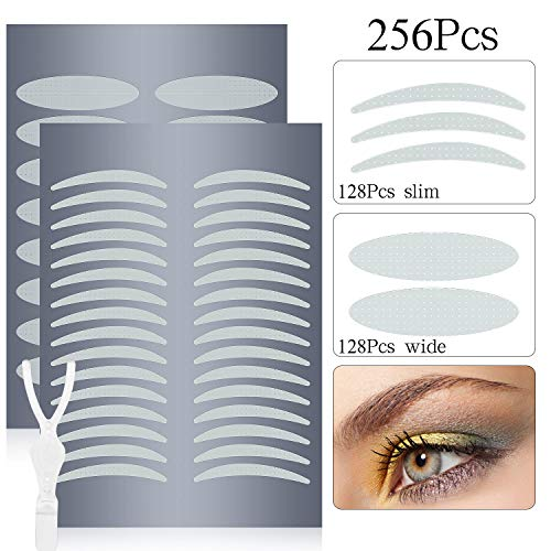 Natural Invisible Fiber Single Side Eyelid Tape Stickers -Waterproof Breathable Self-Adhesive Eyelid Lift Strip- Perfect for Hooded, Droopy, Uneven, or Mono-eyelids,128PCS Slim + 128PCS Wide