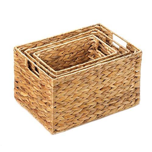 [해외]보관 용 위커 바구니, 짚으로 만든 쌓아 올린 수납함 (3 개 세트)/Wicker Baskets For Storage, Stackable Organizer Bins, Made Of Straw (set Of 3)