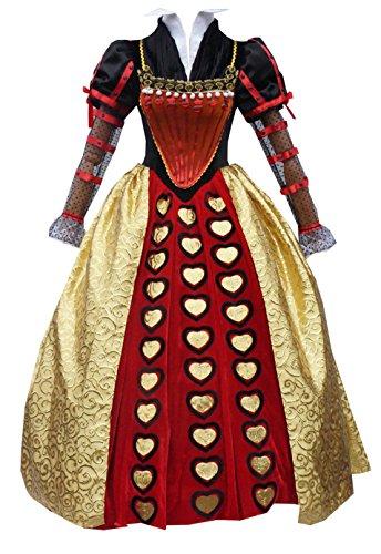 LYLAS Womens Red Long Dress Halloween Queen Cosplay Costume (Female-M) (Red Alice In Wonderland Dress)