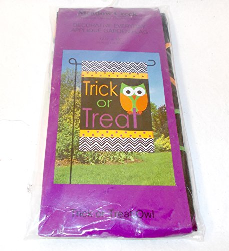 (Meadow Creek Outdoor Trick Or Treat Owl Garden Flag Woven Polyester Appliqued 12.5' x 18')